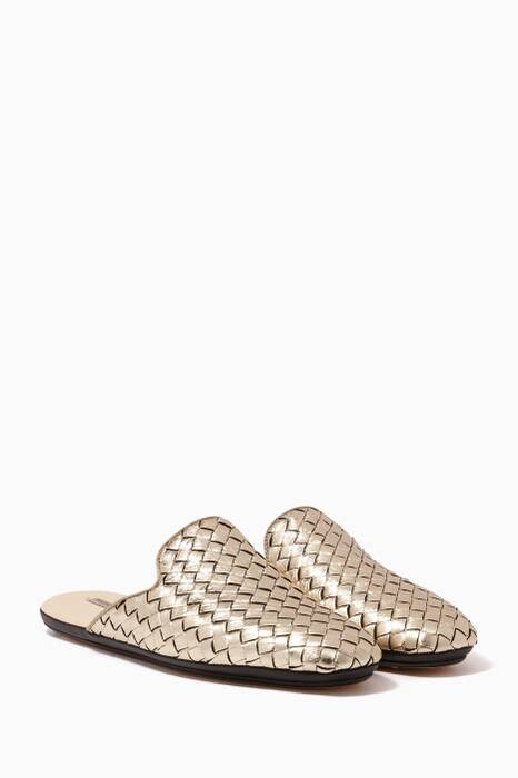 Platinum-Gold Intrecciato Furrow Metal Fiandra Slippers