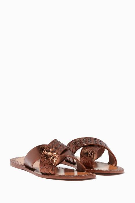 Metallic Brown Criss-Cross Ravello Sandals
