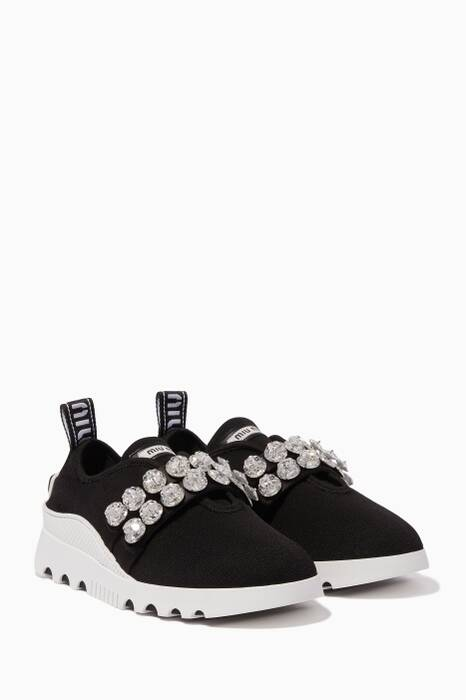 Black Crystal-Embellished Slip-On Sneakers
