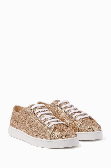 Gold Glitter Lace-Up Sneakers
