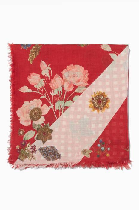 Red Printed Patchwork Scarf