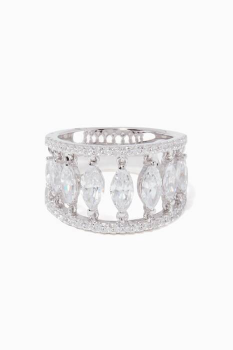 Silver Cascade Marquise Ring