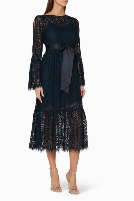 Beige Doily Lace Peacock Midi Dress