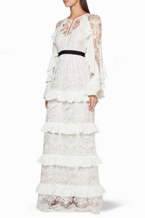 Off-White Ruffled Lace Gown