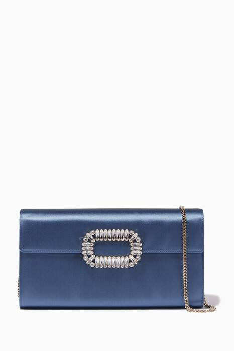 Dove-Blue Satin Envelope Clutch
