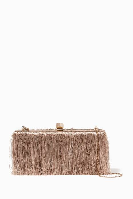 Beige Celeste Fringed Clutch Bag