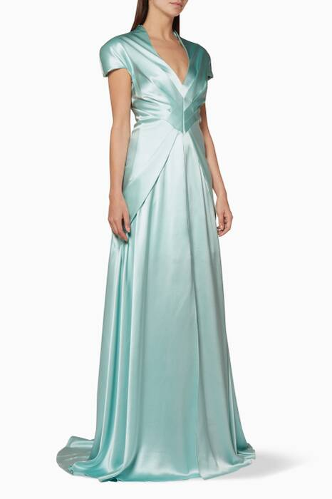 Turquoise V-Neckline Gown