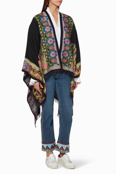 Multi-Coloured Jacquard Floral Poncho