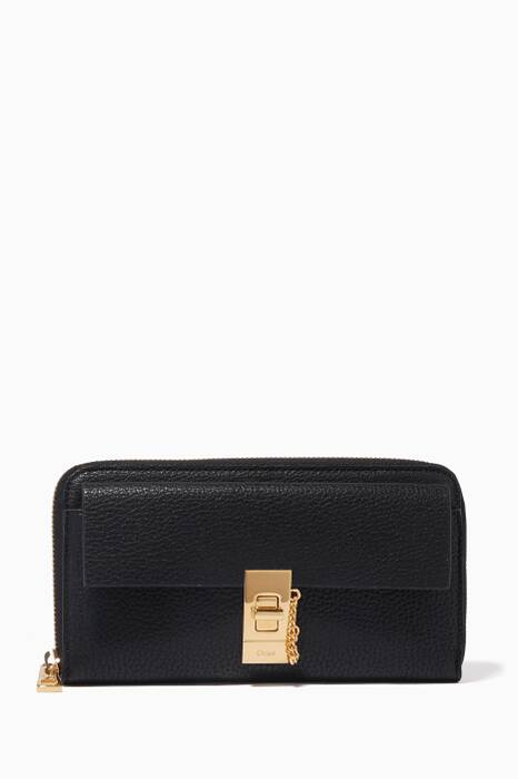 Black Long Drew Zipped Wallet