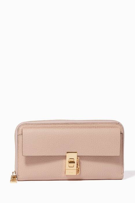 Cement Pink Long Drew Zipped Wallet