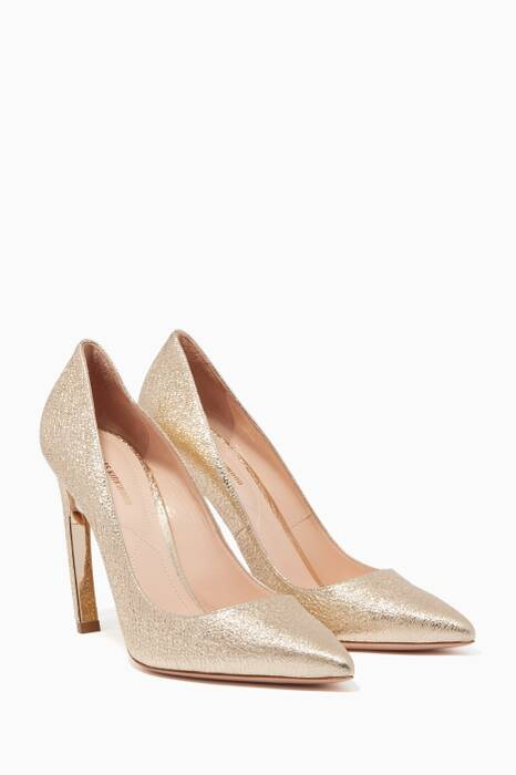 Silver Pearl-Embellished Leather Pumps