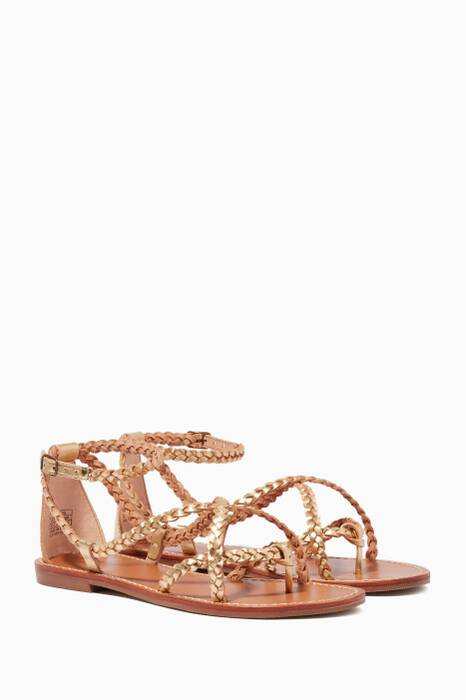 Metallic-Gold Amalfi Braided Sandals