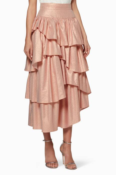 Pink Metallic Asymmetric Ruffle Skirt