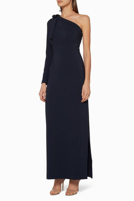 Navy One-Shoulder Gown