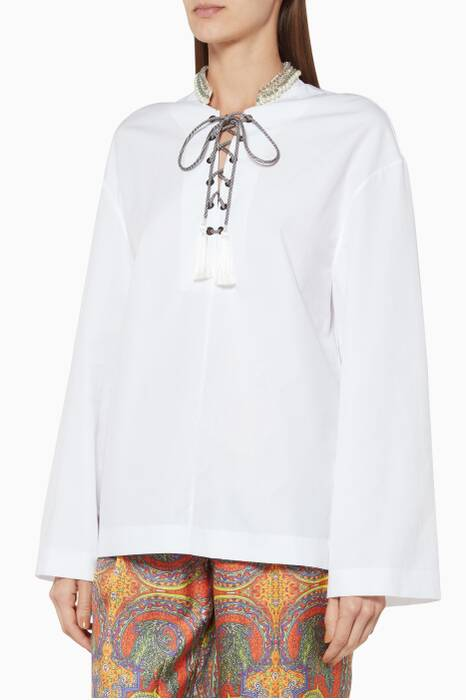 White Embellished-Collar Cassiopea Top
