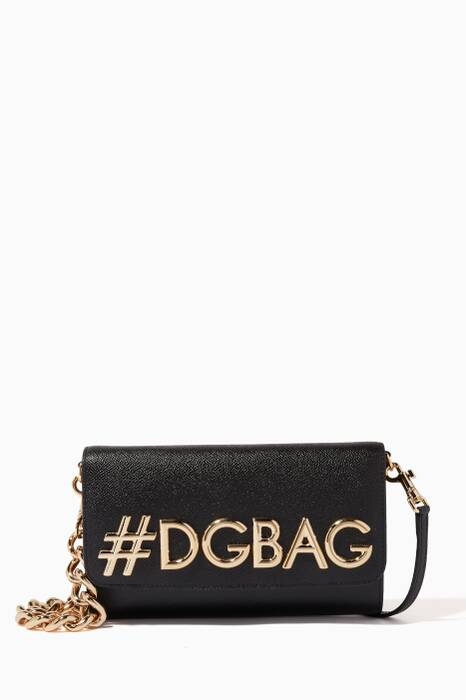 Black Girls Logo Leather Cross-Body Bag