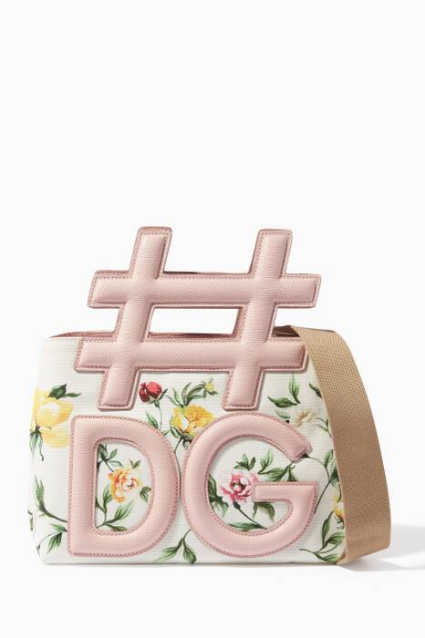 Pink & Ivory Floral-Print Instabag Top-Handle Bag