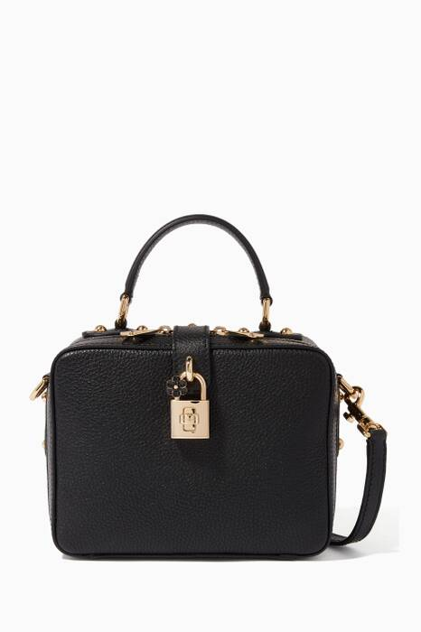 Black Soft Grained-Leather Dolce Box Bag