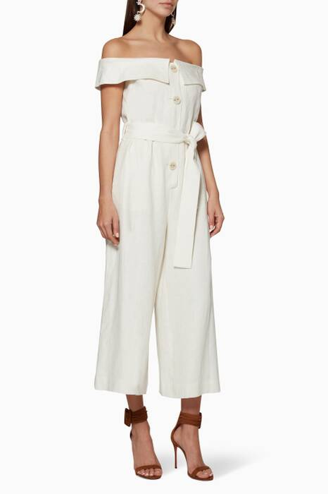 Off-White Off-The-Shoulder Evy Jumpsuit