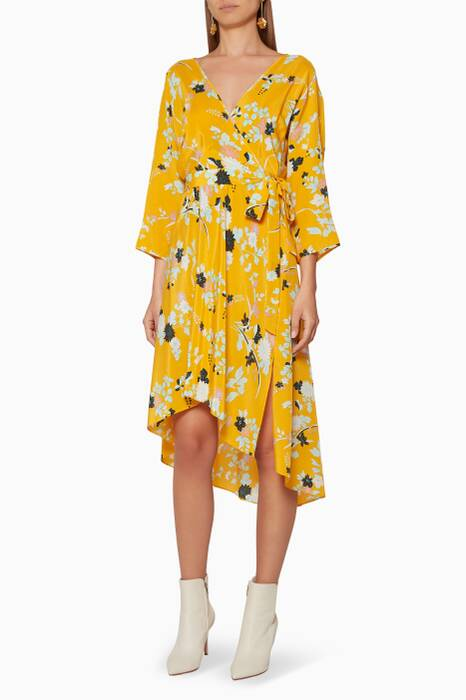 Yellow Flower-Print Eloise Wrap Dress