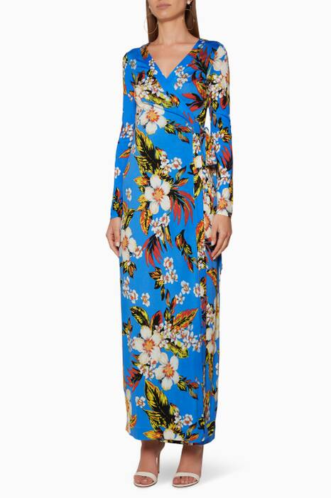 Cobalt Flower-Print Julian Wrap Dress