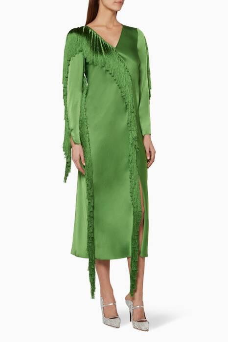 Green Fringe Midi Dress
