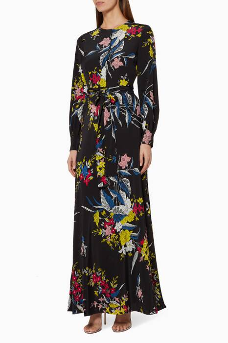 Black Camden Floral-Print Maxi Dress