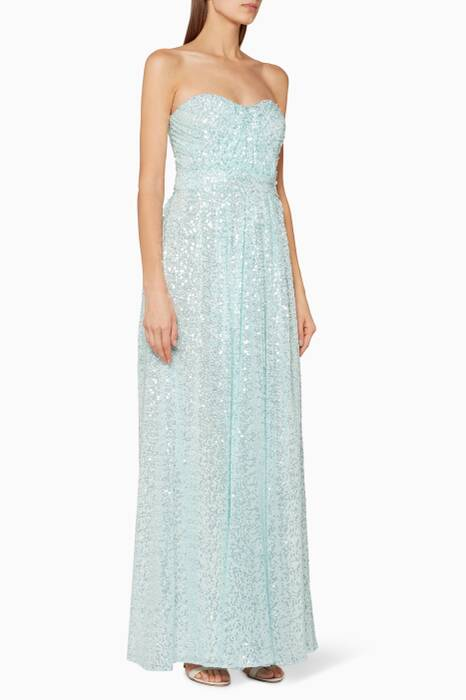 Light-Green Sequin Draped Gown