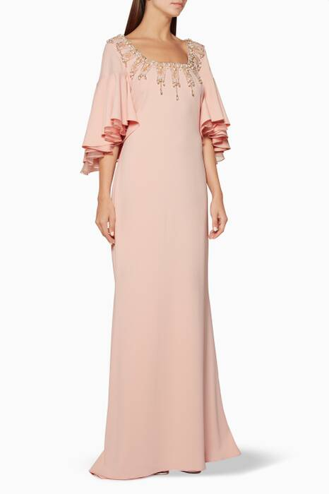 Pastel-Pink Embellished & Ruffled Gown