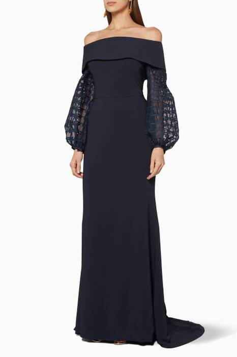 Navy Off-Shoulder Embellished-Sleeve Gown