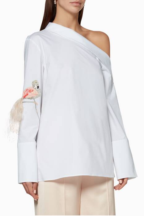 White One-Shoulder Embroidered Top