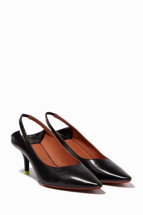 Black Babouche Slingback Leather Pumps