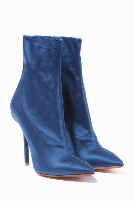 Satin-Blue Point-Toe Ankle Boots