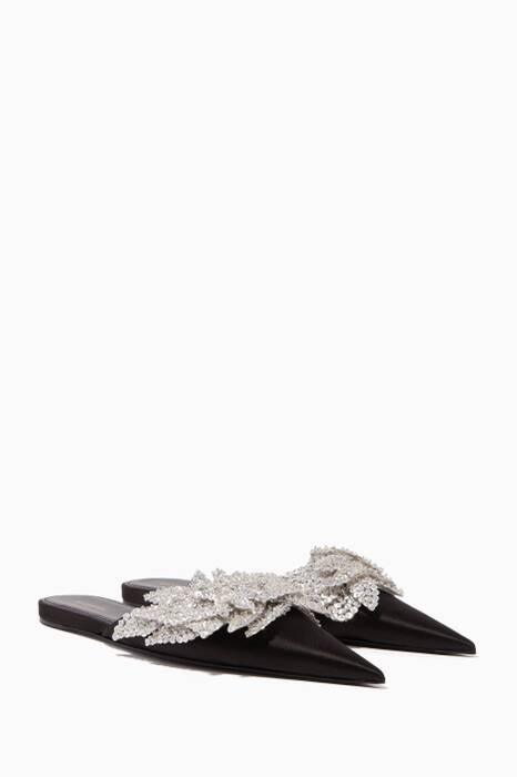 Black Sequin-Embellished Satin Slippers