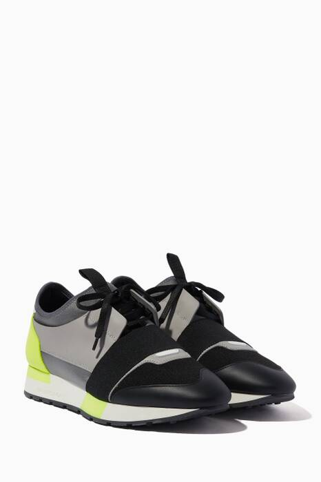 Black, Grey & Yellow Race Runner Low-Top Sneakers