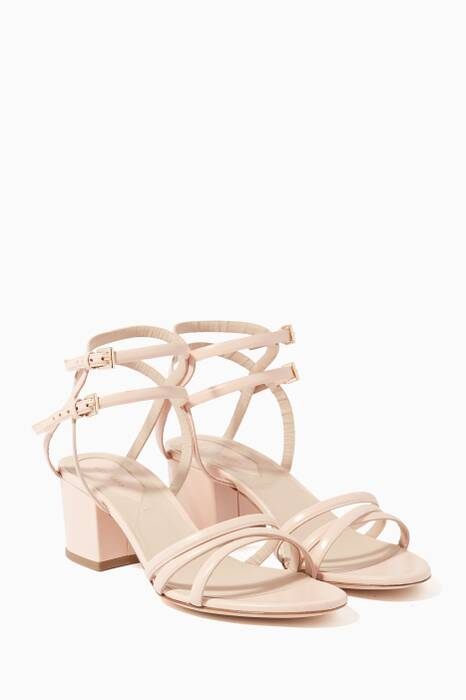 Blush Leather Block-Heel Sandals