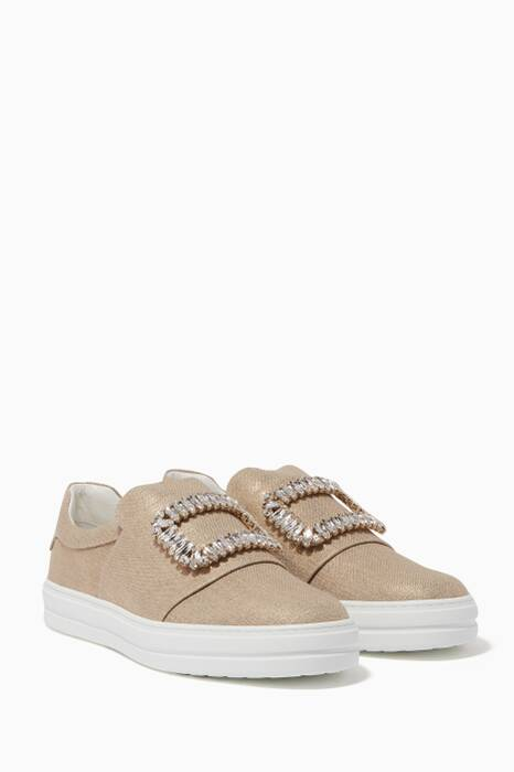 Gold Crystal-Buckle Flatform Sneakers