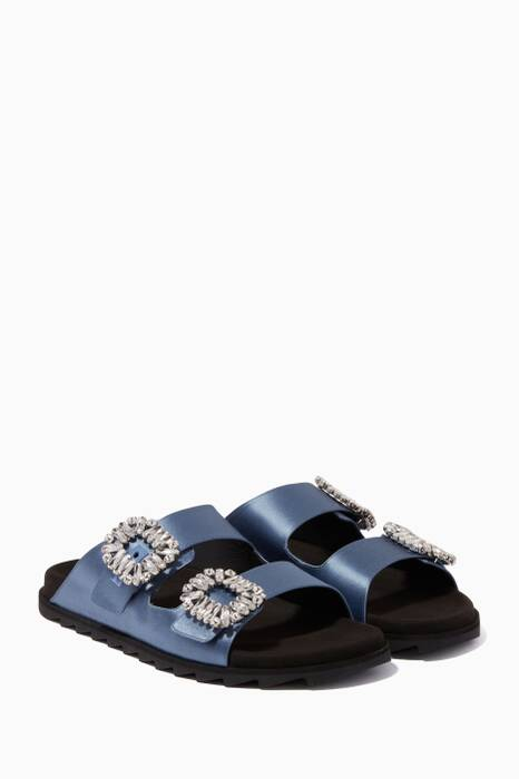 Blue Crystal-Embellished Birkenstock Sandals