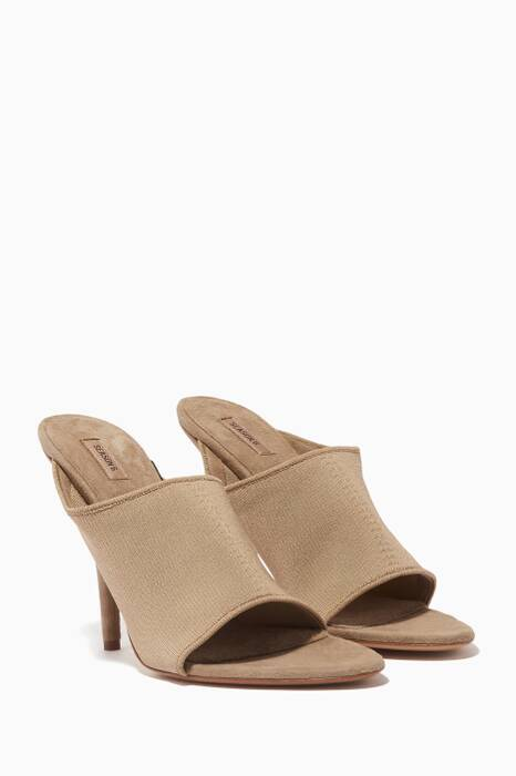 Light-Beige Knit Mules