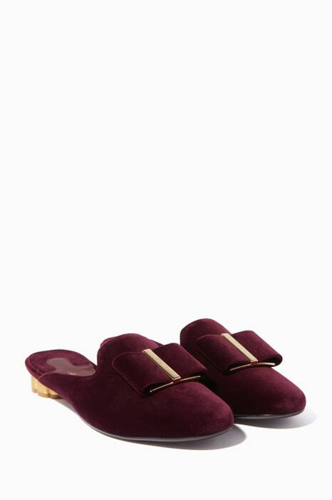 Dark-Red Velvet Sciacca T Bow Mules