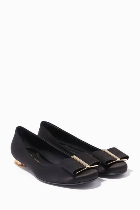 Black Capua Bow Ballerinas