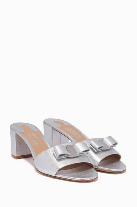 Metallic-Silver Eolie Bow Sandals