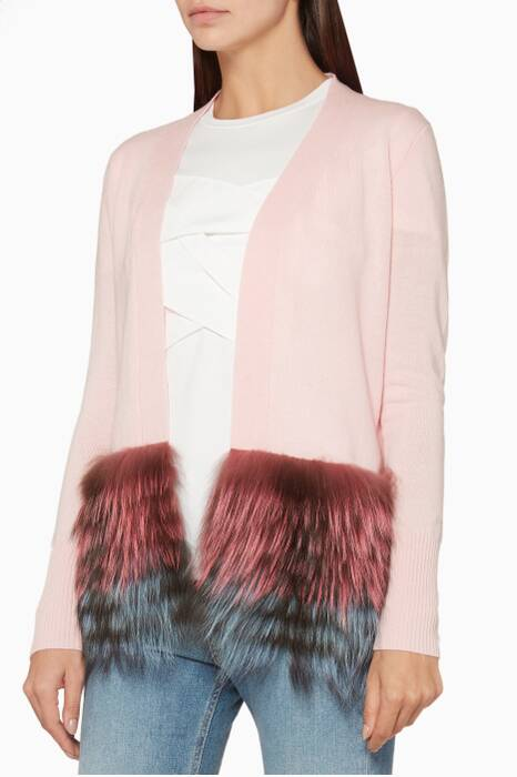 Pink Fur-Trimmed Cardigan