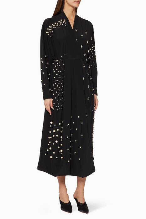 Black Faux-Pearl Embellished Silk Dress
