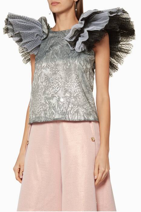 Silver Ruffled Blouse