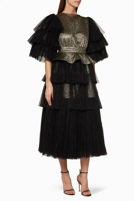 Black & Gold Plisse Ruffled Dress