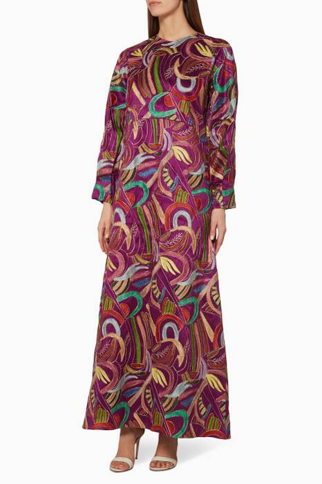 Purple Silk Embroidered Kaftan