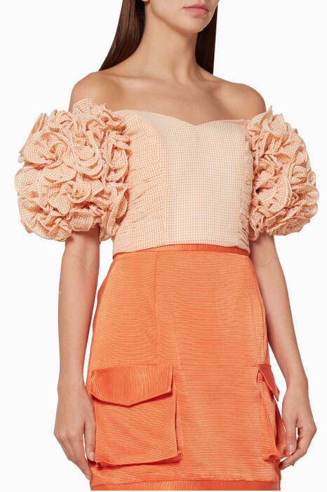 Orange Gingham Printed Crop Top