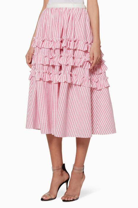 Light-Pink Striped Linen Skirt