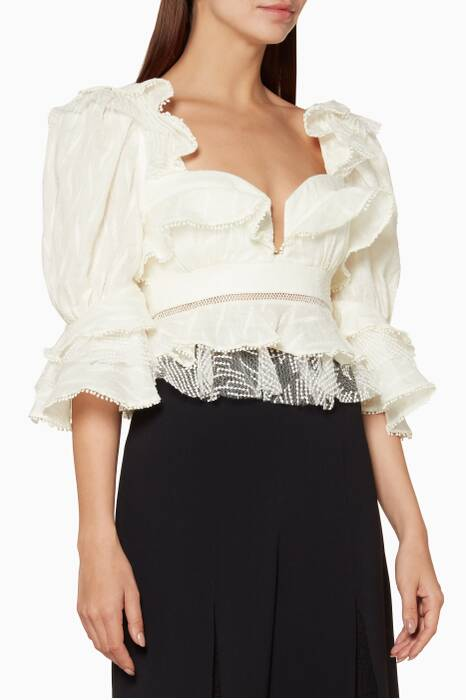Ivory Embroidered Basque Ruffle Top
